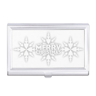 Snowflake Merry Christmas Business Card Case