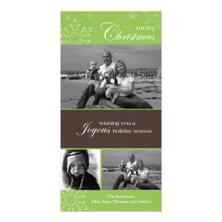 Snowflake Merry Christmas Green Photo Card