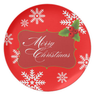 Snowflake Merry Christmas Party Dinner Plates