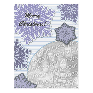 Snowflake Merry Christmas Purple Blue Postcard