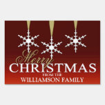 Snowflake Merry Christmas Red Yard Signs