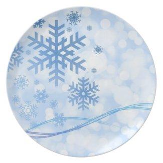 Snowflake Merry Christmas Season's Greetings Plates