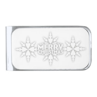 Snowflake Merry Christmas Silver Finish Money Clip
