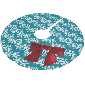 Snowflake Monogram Big Red Bow Tree Skirt