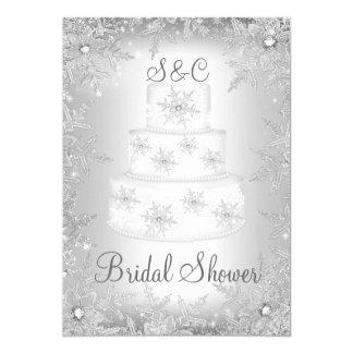 Snowflake Monogram Wedding Cake Bridal Shower Card