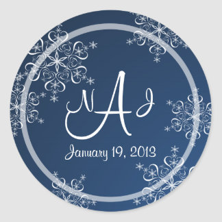 Snowflake Monogram Wedding Classic Round Sticker