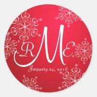 Snowflake Monogram Wedding Red 2 Classic Round Sticker