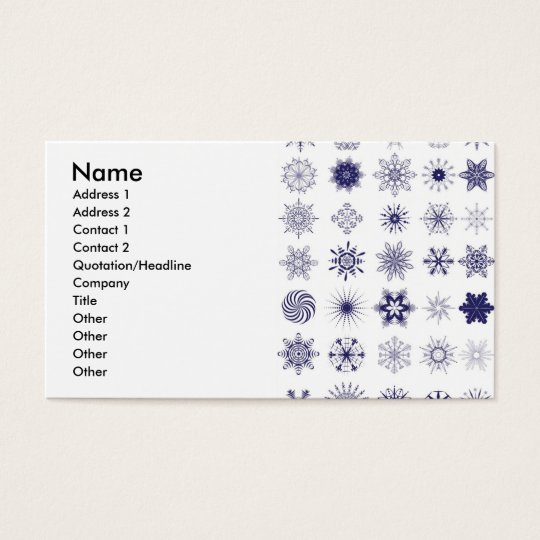 snowflake, Name, Address 1, Address 2, Contact ... Business Card