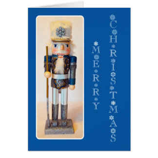 Snowflake Nutcracker Merry Christmas Dark Blue Card