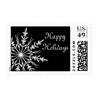 Snowflake on Black Happy Holidays Postage Stamp