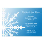 Snowflake on Blue Holiday Open House Invitation