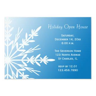 "Snowflake on Blue Holiday Open House Invitation 5"" X 7"" Invitation Card"