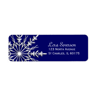 Snowflake on Blue Holiday Return Address Label
