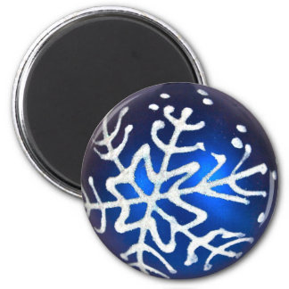 Snowflake on Blue Magnet