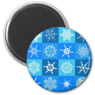 Snowflake on Blue Pattern Magnet