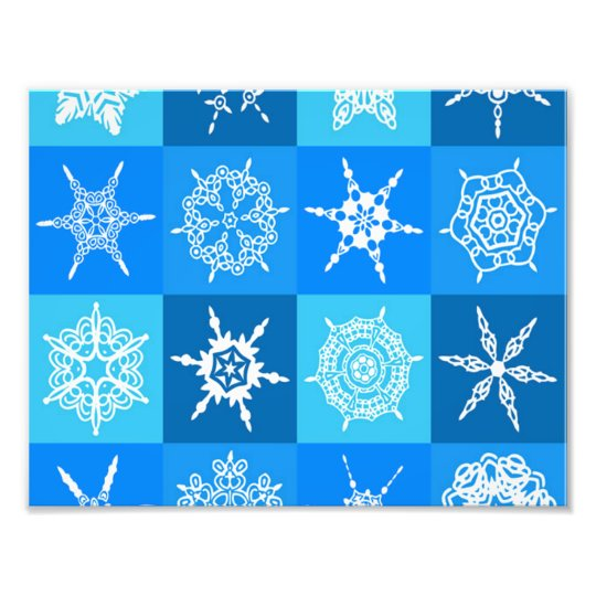 Snowflake on Blue Pattern Photo Print