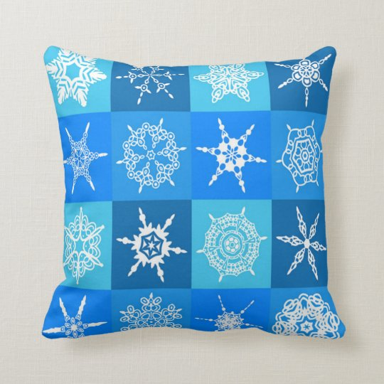 Snowflake on Blue Pattern Throw Pillow