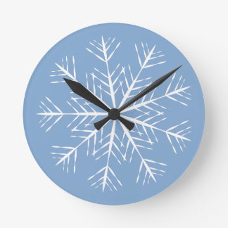 Snowflake on Blue Wall Clock