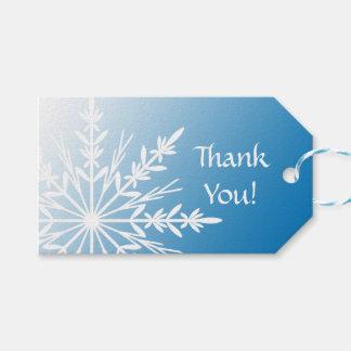 Snowflake on Blue Winter Wedding Favor Tags