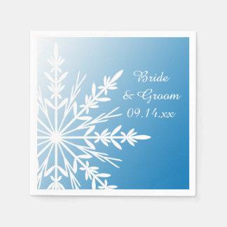 Snowflake on Blue Winter Wedding Paper Napkins