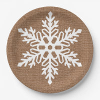 Snowflake on Burlap Country Style Christmas Paper Plate