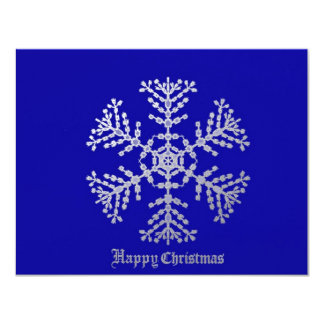 Snowflake on dark blue personalized invites