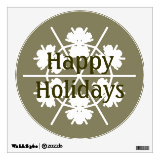 Snowflake on Dusky Green Text Template Wall Sticker
