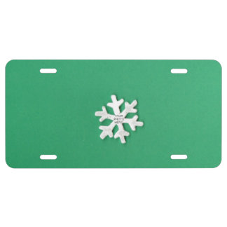 Snowflake on Green Add Photo Frame License Plate