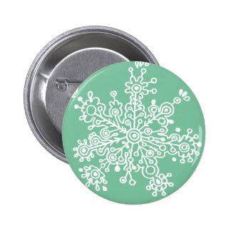 Snowflake (on Green) Pinback Button