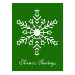 Snowflake on green post card