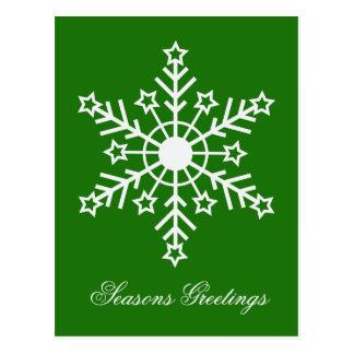 Snowflake on green postcard