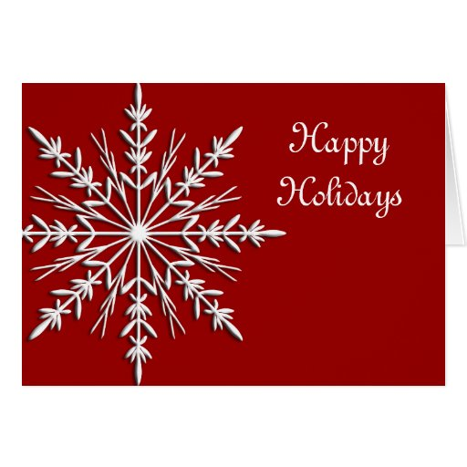 Snowflake on Red Business Christmas Card