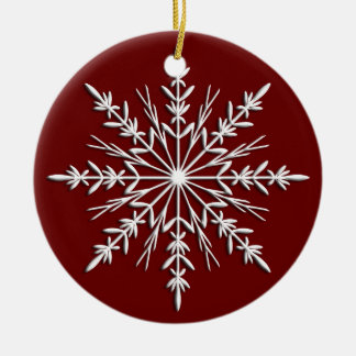 Snowflake on Red Dated Round Ornament