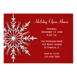 Snowflake on Red Holiday Open House Invitation