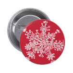 Snowflake on Red Pinback Button