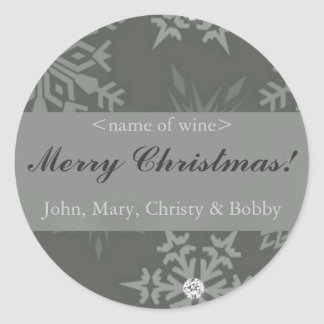 Snowflake on Silver Christmas Wine Labels Sticker