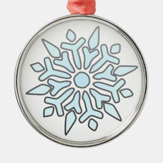 Snowflake Round Metal Christmas Ornament
