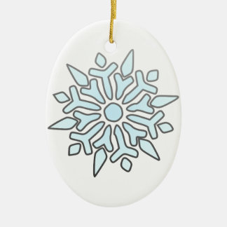 Snowflake Double-Sided Oval Ceramic Christmas Ornament