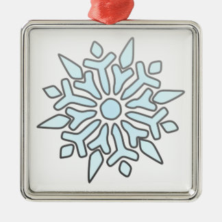 Snowflake Square Metal Christmas Ornament