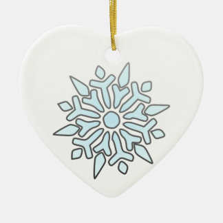 Snowflake Double-Sided Heart Ceramic Christmas Ornament