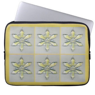 Snowflake Ornament Christmas Holiday Platinum Gold Laptop Sleeve
