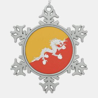 Snowflake Ornament with Bhutan Flag
