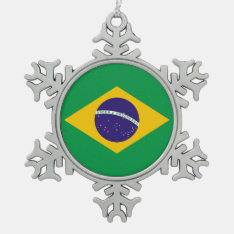 Snowflake Ornament With Brazil Flag at Zazzle