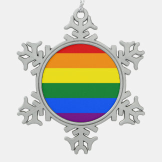 Snowflake Ornament with LGBT Flag