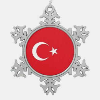 Snowflake Ornament with Turkey Flag