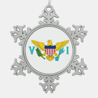 Snowflake Ornament with Virgin Islands Flag