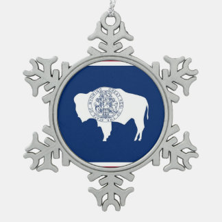 Snowflake Ornament with Wyoming Flag