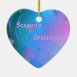 Snowflake Ornamment Double-Sided Heart Ceramic Christmas Ornament