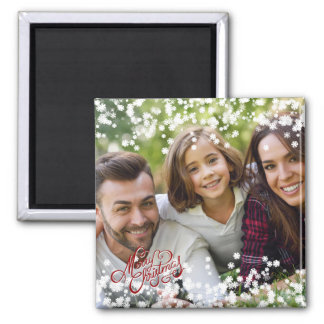 Snowflake Overlay Merry Christmas Holiday Photo Magnet