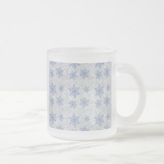 Snowflake Paper 1 - Original Blue & White Frosted Glass Coffee Mug